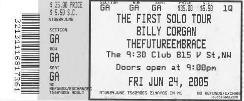 billy corgan TFE ticket stub